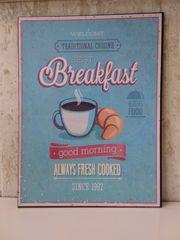 Metallschild Breakfast
