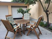 Teak-Holz Gartenmöbelgarnitur 4 Stühle 1
