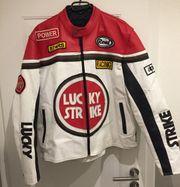 Lucky Strike Lederjacke rot weiß