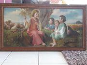 Bild Gemälde christliche Hirtenfrau mit