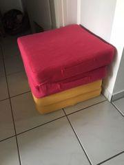 4 Sitzkissen rot gelb gratis