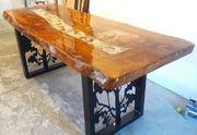 Massivholz-Tisch 200x80x7 cm mit Deko