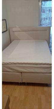 Boxspringbett 140x200cm weiß creme sehr