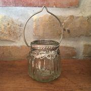Glas Teelicht mit Henkel hübsch