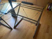 Schöner Eck-Schreibtisch aus Glas und