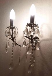2-armige Wandleuchte Kristall Kerzenleuchte Lüster-Stil