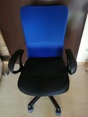 Bürodrehstuhl mit Armlehne schwarz-blau