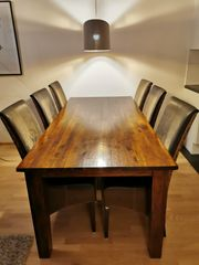 Tisch massiv Akazie inkl 6