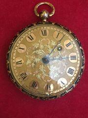 antike 18k Gold Email Spindeltaschenuhr