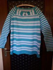 Pullover Gr 50 türkis-weiß gestreift