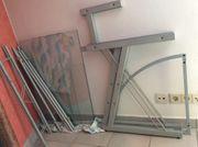 Stahl und Glas Designer Eckschreibtisch