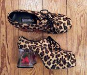 Herren Fun-Schuhe 70er Jahre Leopardenoptik