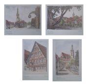 4x Reiter Radierung Schwabach koloriert