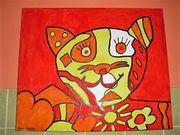 Acryl Bild Katze