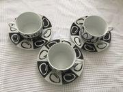 3 Cappuccino Tassen mit Unterteller