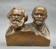 Marx Lenin Bronze Statue Sowjet