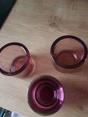 3 Teelichtgläser Lila flieder