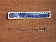 Vorlegegabel Wurstgabel 800 Silber Rose