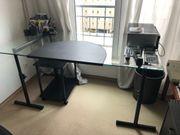 Schreibtisch Glas Metall schwarz höhenverstellbar