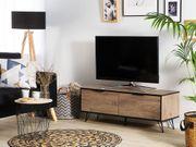 TV-Möbel heller Holzfarbton schwarz HALSTON neu