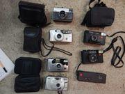 Verschiedene alte Fotoapparate
