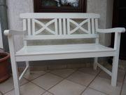 weiße Massivholz-Gartenbank Sitzpolster - nur Abholung