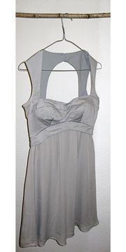 Cocktailkleid Kleid Grau Strass Chiffon
