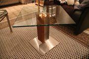 Beistelltisch Glastisch Kombi Nussbau Glas