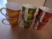 6 Stück bunte Kaffeebecher aus