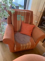 Wohnzimmergarnitur in Terracotta