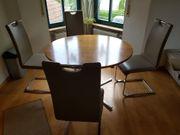4x Stühle mit Tisch Freischwinger-Kunstleder