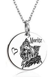 personalisierte Kette Edelstahl Yorkshire Terrier