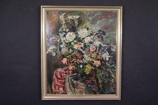 Impressionismus Interieur Stillleben Ölgemälde unleserlich