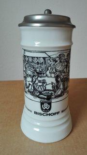 Bierkrug mit Zinndeckel Brauerei Bischoff