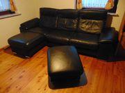 Leder Couch 3er mit Liege