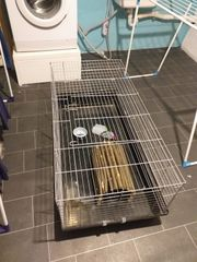 Kaninchenkäfig mit Zubehör und Transportbox