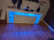 TV Lowboard Weiß mit LED