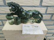 Edelstein-Panther grün Serpentin ca 24cm