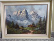 Ölgemälde Langkoflgruppe Berge Gröden Dolomiten