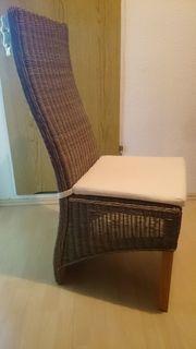 Rattan Stuhl mit Sitzkissen hoher