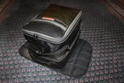 Lederjacke und -Hose Stiefel Tankrucksack