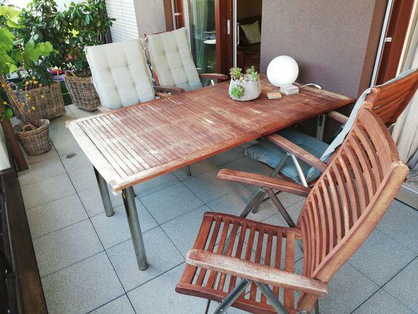 Gartenmobel Tisch 100 180 Cm Und 6 Stuhle Inkl Auflagen