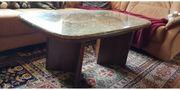 Tisch aus Kirchbaumholz mit Mamorplatte