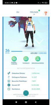 Pokemon Go Account Level 36