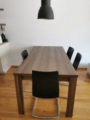 Esstisch mit 4 eleganten Echtleder