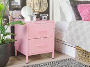 Nachttisch Chromstahl rosa 2 Schubladen
