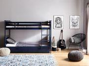 Hochbett Holz marineblau 90 x