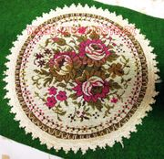 Deckchen Mini-Teppich rund mit Blumen
