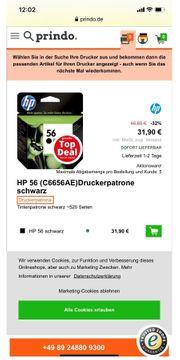 HP Original Druckerfarbe schwarz Nr