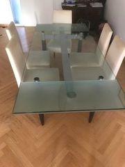 Designer-Glasesstisch Holzfüße rechteckig zweifach ausziehbar